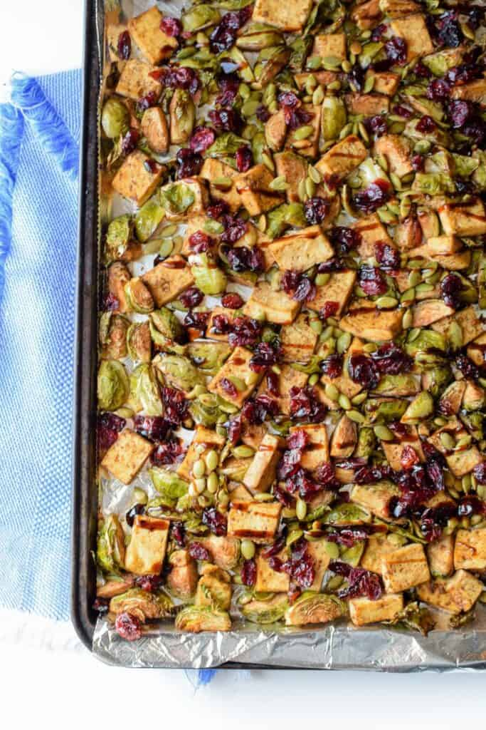 Sheet Pan Garlic Tofu and Brussels Sprouts from Emily Kyle Nutrition
