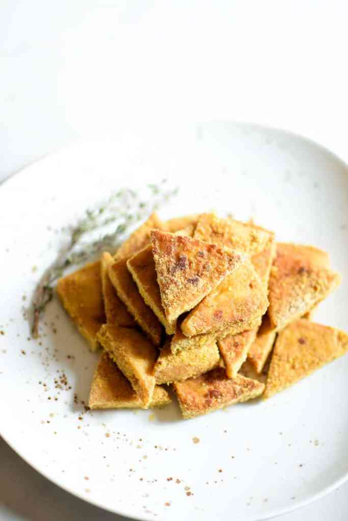 Perfectly Baked Cheesy Crispy Tofu by Emily Kyle Nutrition