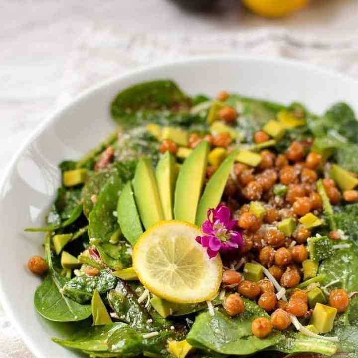 Lemon, Spinach, and Avocado Salad with Salty Roasted Chickpeas