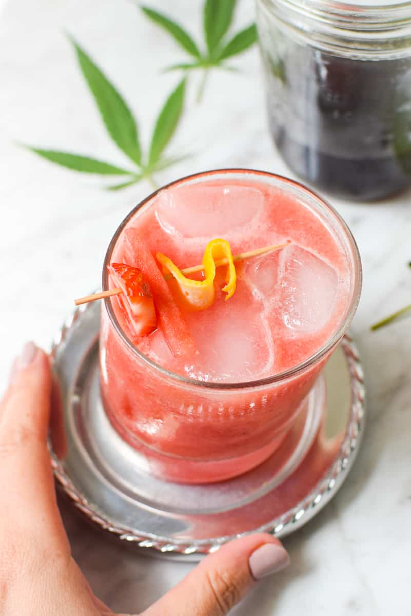 Strawberry Watermelon Cannabis Cocktail by Emily Kyle8 - Strawberry Lemonade Cannabis Cocktail or Mocktail