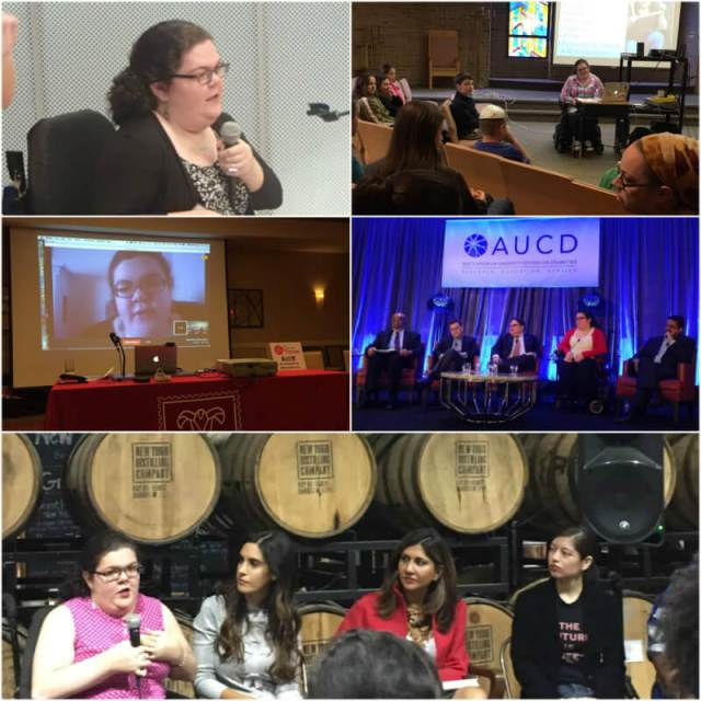 A collage of several photos of Emily at public speaking events.