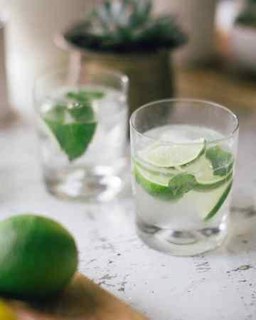 Muddled Lime Mojitos