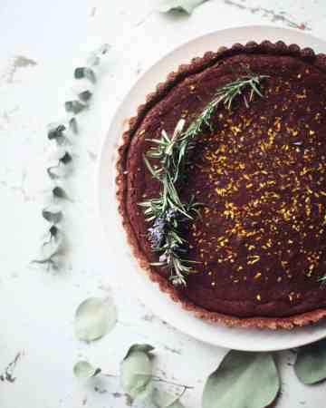 Rosemary and Orange Dark Chocolate Tart
