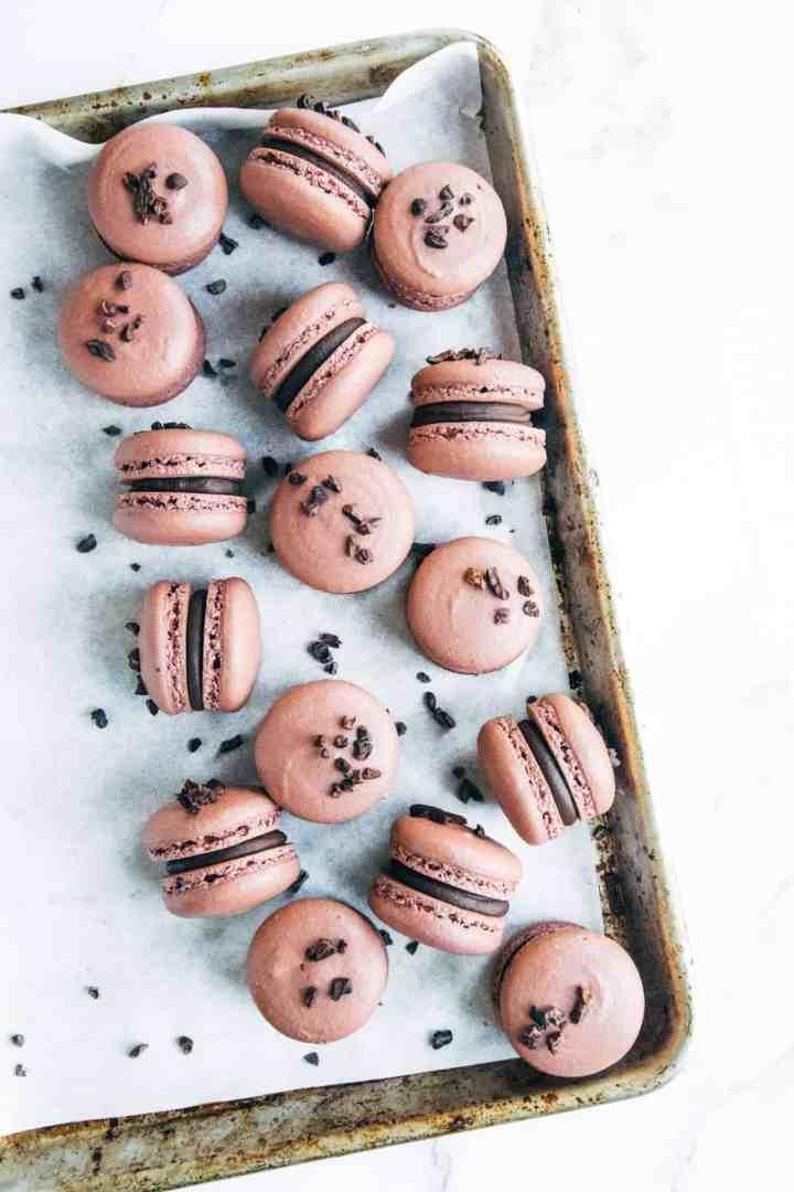 Dark Chocolate & Raspberry Ganache Macarons