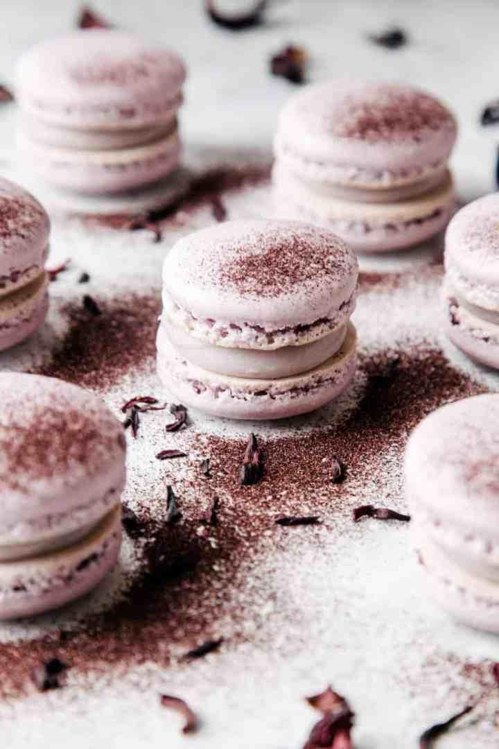 White Chocolate Hibiscus Macarons
