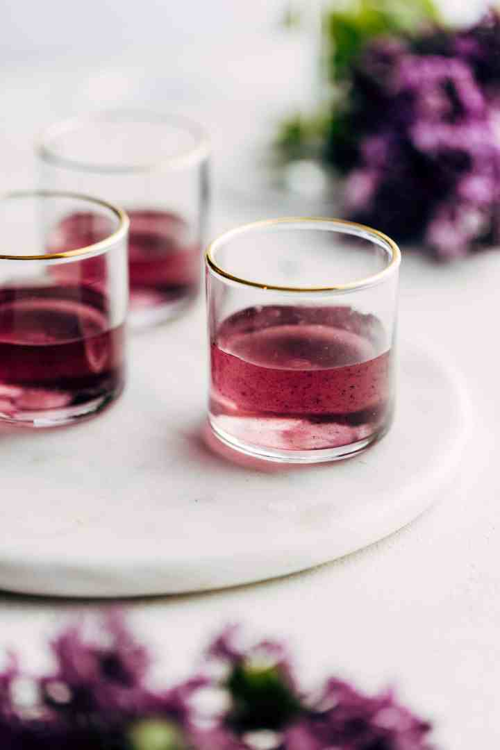 Blackberry & Lilac Simple Syrup in glasses