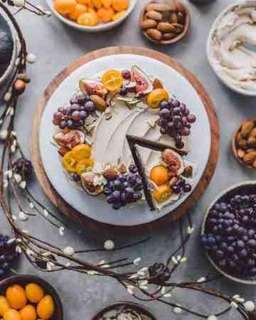 Banana Cake with Almond Buttercream on a platter