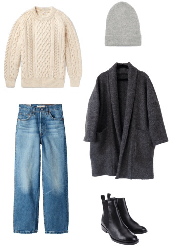 Basic winter outfit with fishermen's knit, long cardigan, medium wash denim, chelsea boots