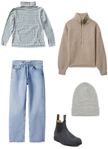 Basic winter outfit with turtleneck, half zip sweater, light wash denim, winter boots
