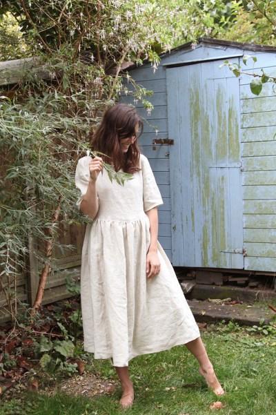Fabrics Store Cora Half-Sleeve Linen Dress