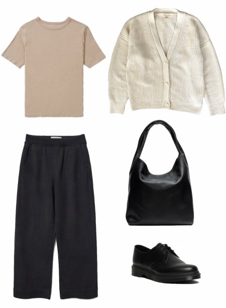 Basic tee, cardigan, and wide leg pants outfit