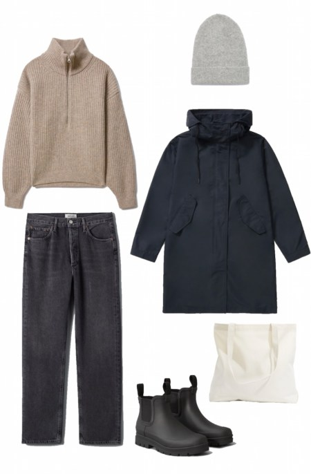 Half zip sweater, washed black denim, and anorak outfit