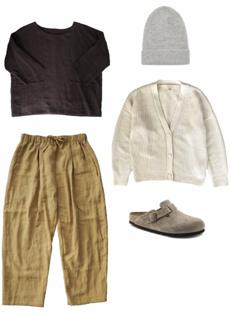 Linen shift top, linen pants, and cotton cardigan outfit
