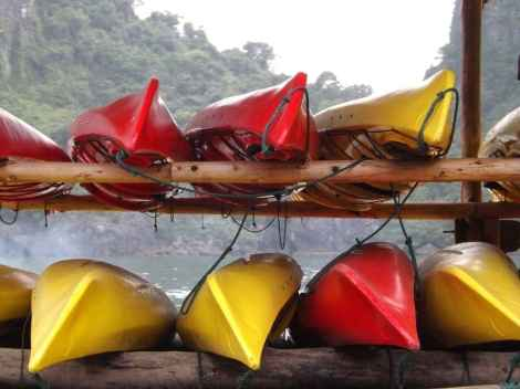Kayaks at Luon Cave