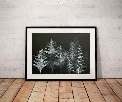 black and white art, forest art, tree art