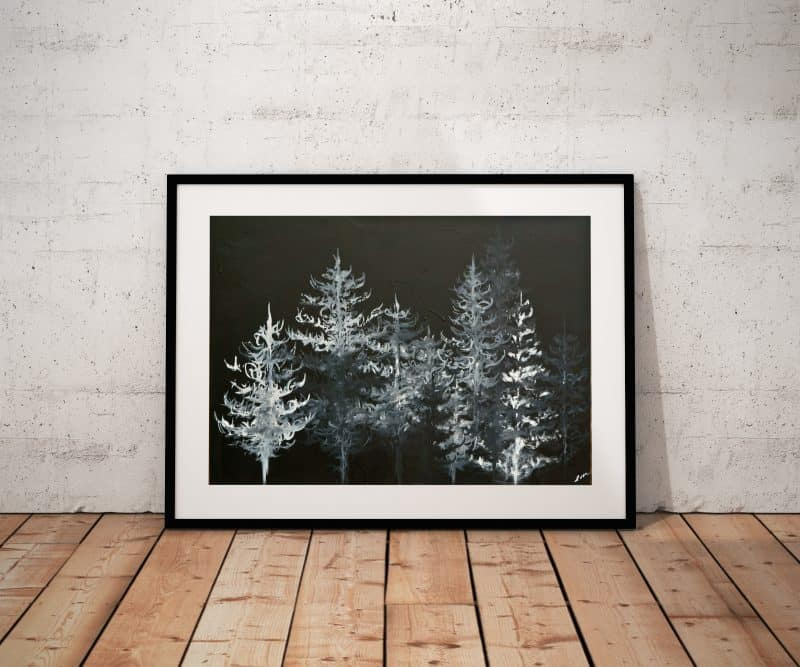 black and white art, forest art, tree art