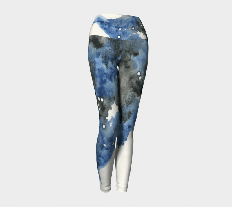 Watercolor Leggings, Abstract Leggings, Blue Leggings