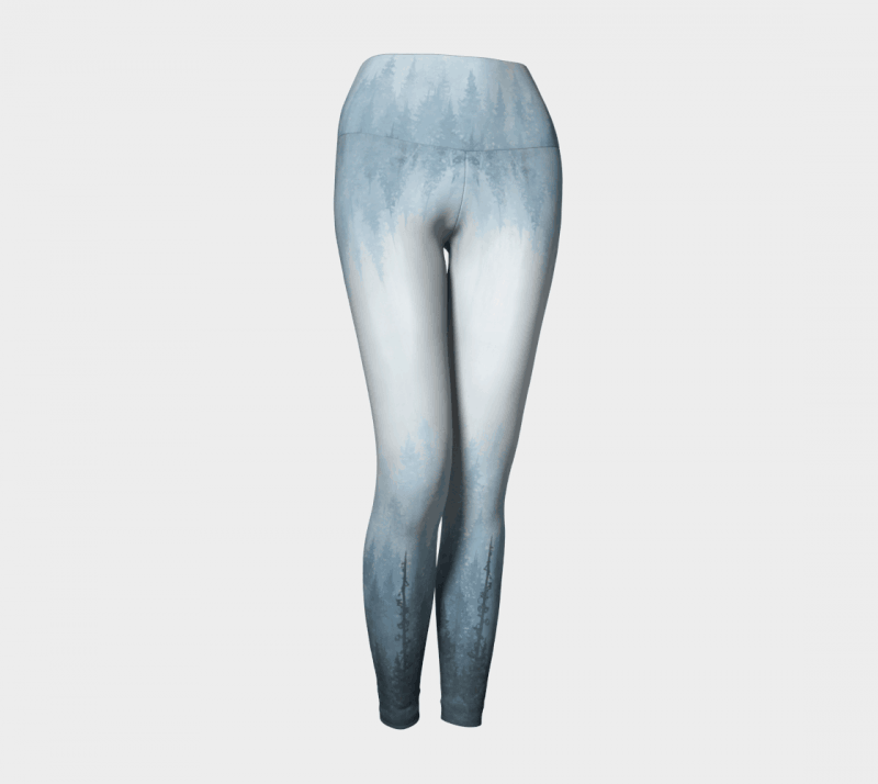 Yoga Leggings, Blue Leggings, Art Leggings