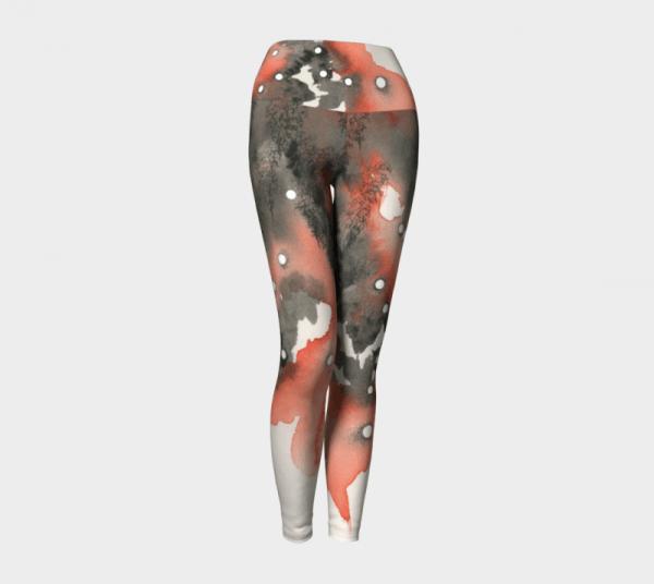Watercolor Leggings, Art Leggings, Orange Leggings