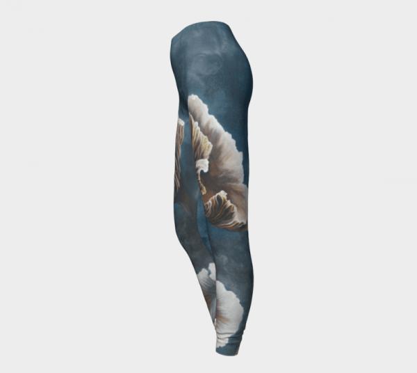 Teal Leggings, Printed Leggings, Mushroom Leggings
