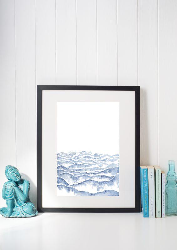 watercolor art, blue gradient, healing art