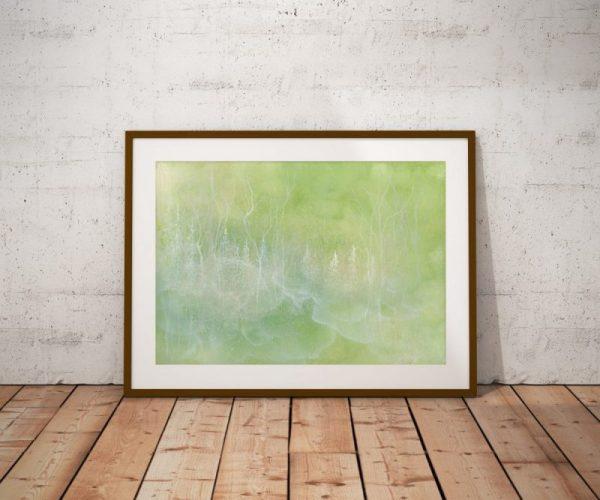 forest art, nature art print, misty forest