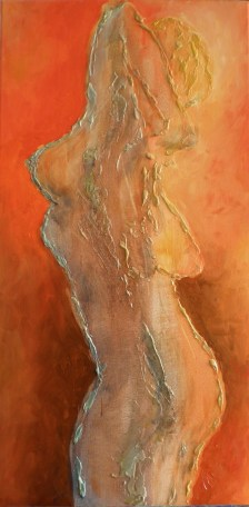 """Warmth"" c. 2008 - Mixed Media on Canvas - 12x30 -Private Collection"