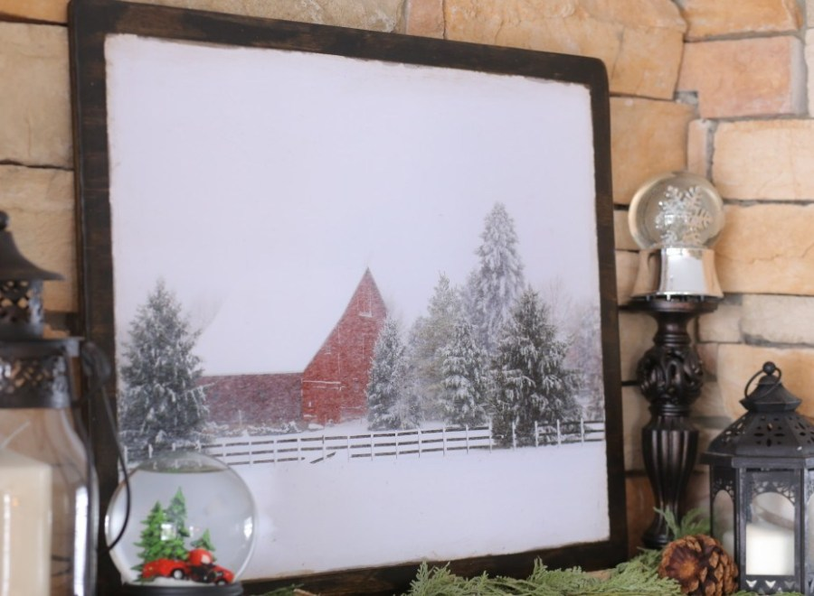 DIY winter mantel