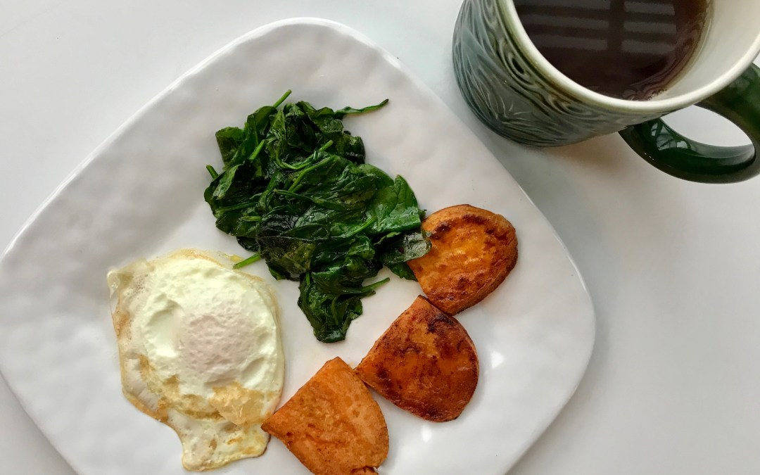 Sauteed spinach with egg and sweet potato toast