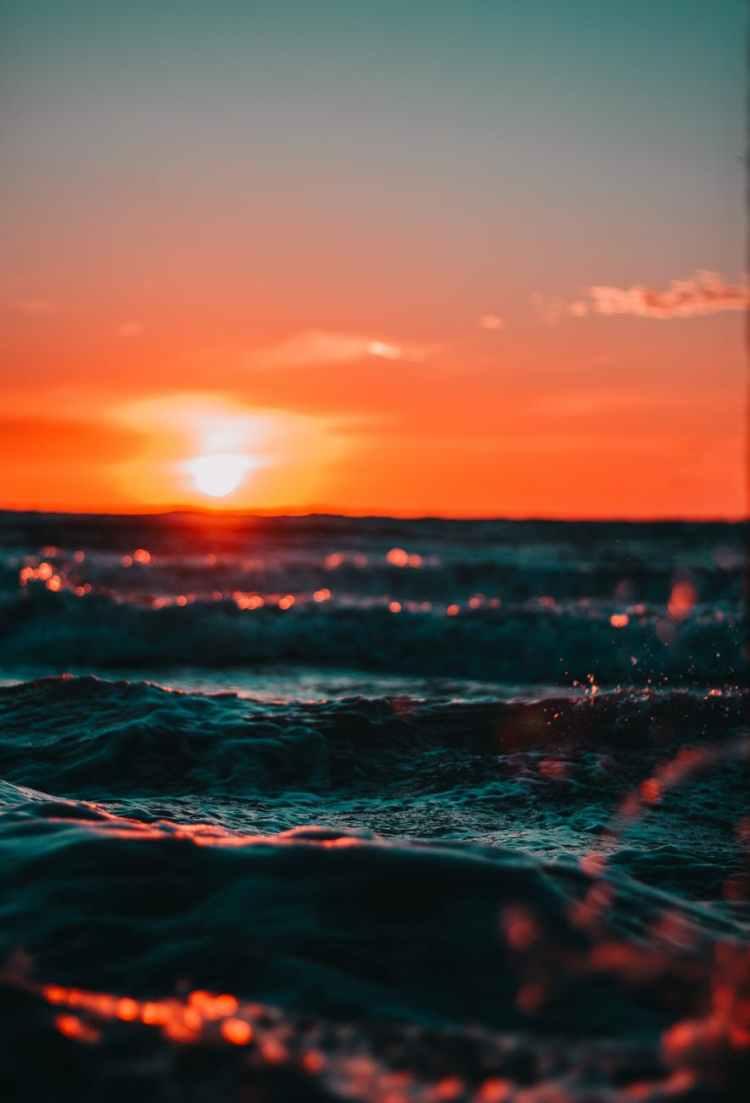 view of ocean during golden hour