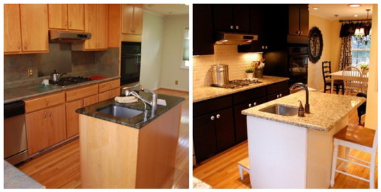 Before And After Dare You To Paint Your Cabinets Black Emily P Freeman