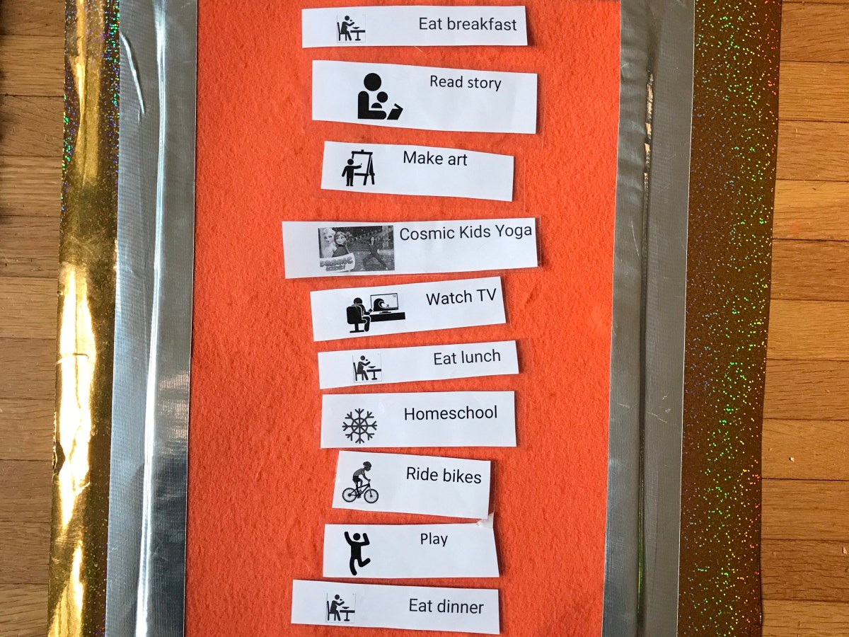 visual schedule Emily P.G. Erickson made for her children