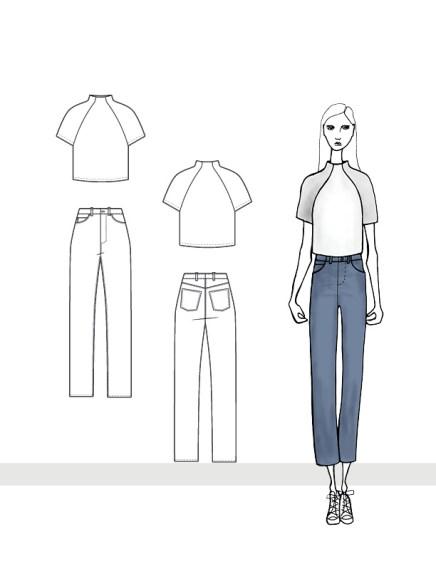 Mock Neck Raglan Top and Straight Leg Jeans