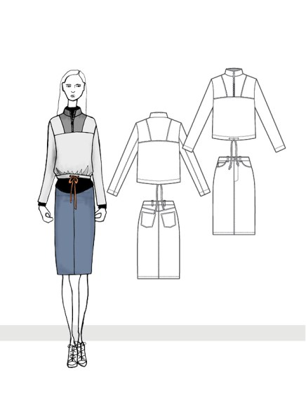 Paneled Mock Neck Top and Denim Skirt
