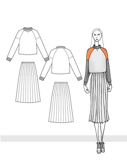 Cropped Colorblock Sweatshirt and Pleated Midi Skirt