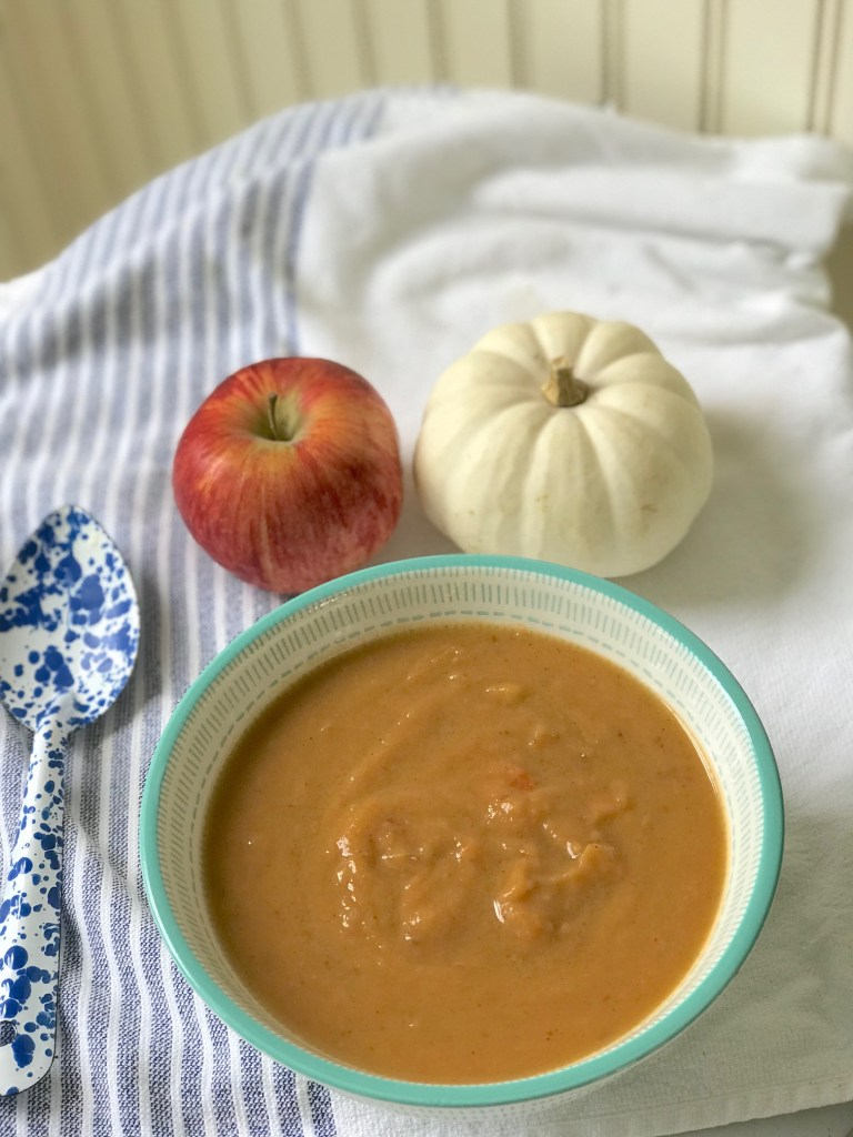 Sweet potato and apple soup recipe is gluten free, dairy free, and paleo approved.