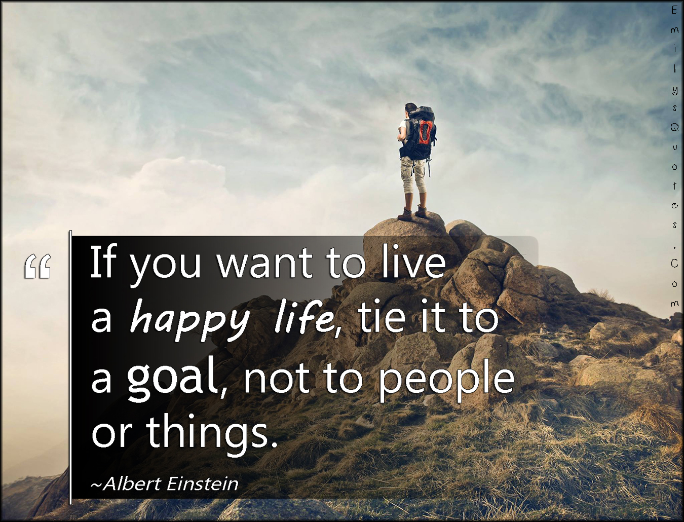 Image result for if you want to live a happy life tie it to a goal