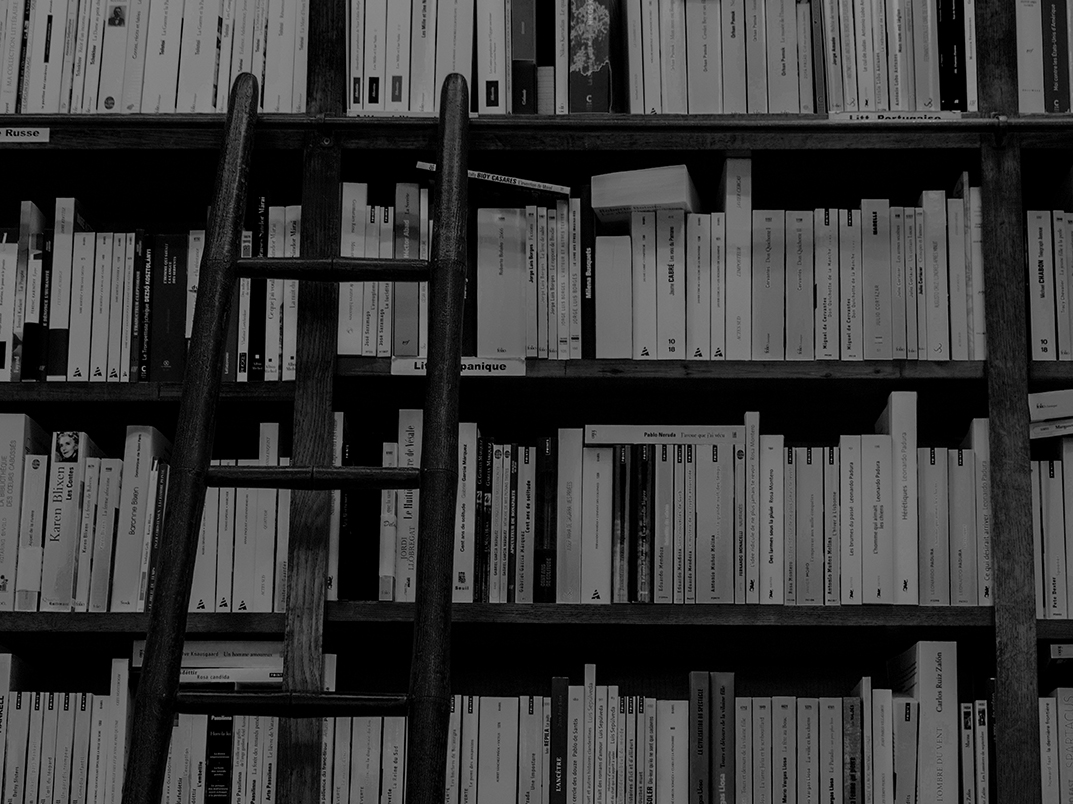 black and white photo of a book case with a ladder