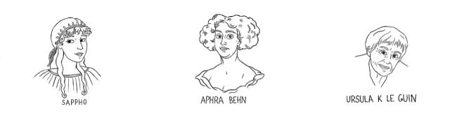 Black line illustrations of Sappho, Aphra Behn, and Ursula K. Le Guin