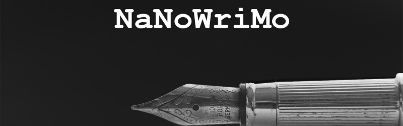 "The tip of a fountain pen with text ""NaNoWriMo"""