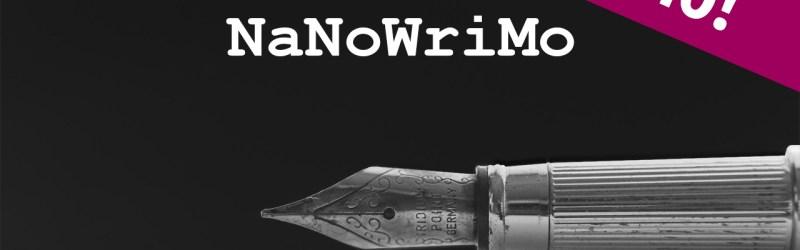 A fountain pen with text NaNoWriMo Promo