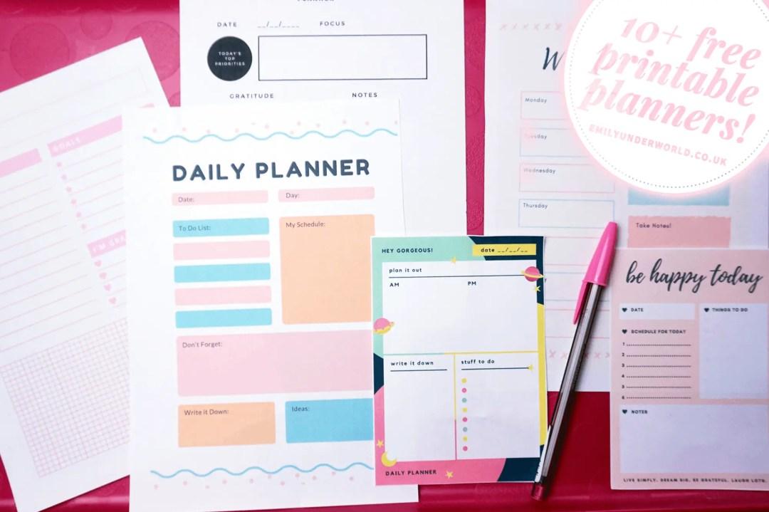 10+ Beautiful Free Printable Planners!