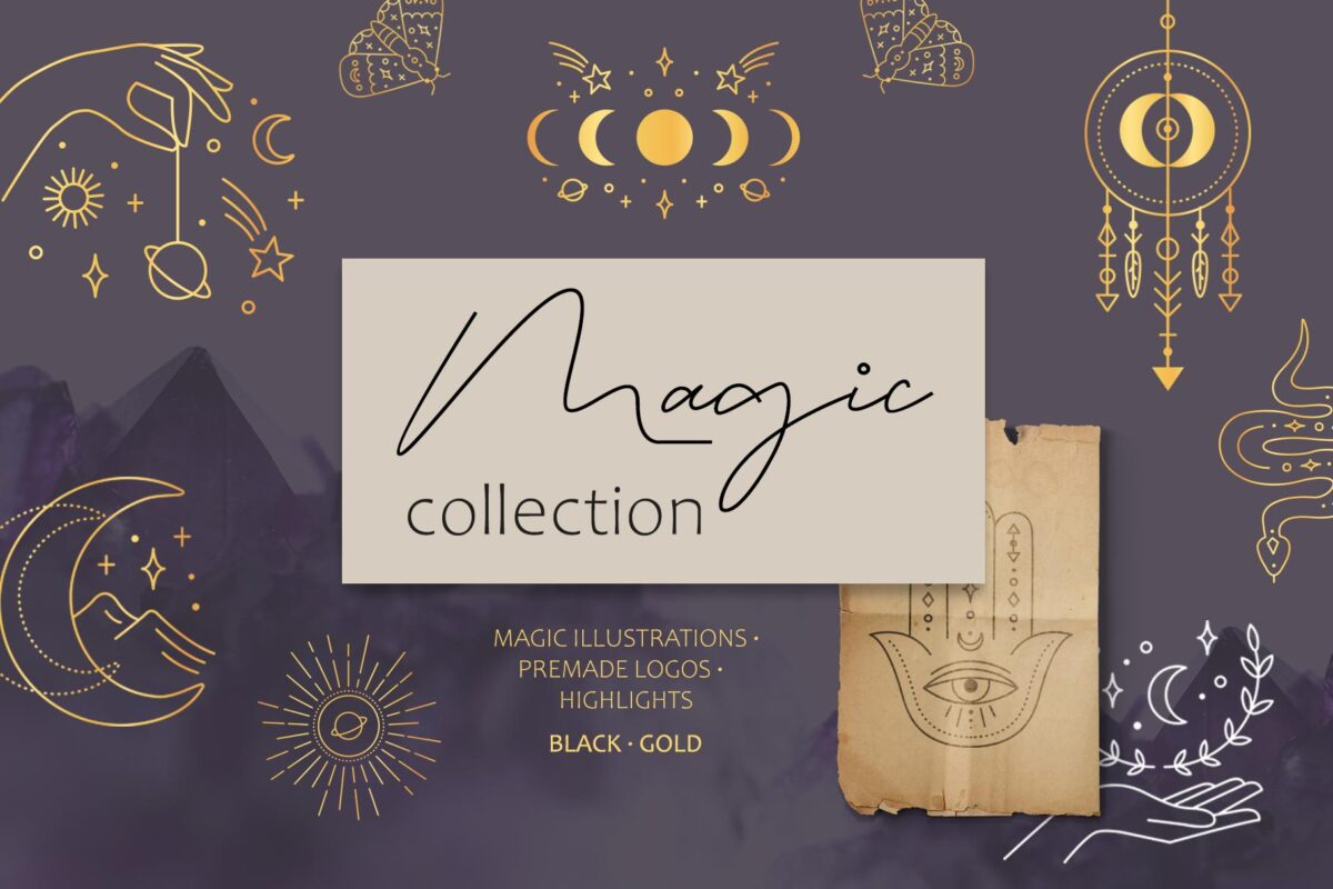 Magic collection illustrations from Design Bundles.