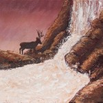 Painting of a waterfall with an elk standing next to the shoreline in colors of red and brown created as acrylic art for sale