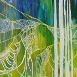 Painting of intricate webs on trees in white with a blue-green background and yellow ground as an abstract landscape art
