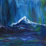 Painting of beautiful blue mountains with majestic colors mostly of dark blue & white showcasing modern abstract art for sale