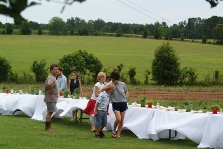 Second time to bring table decor after the immediate threat of rain passes. Photo by Suzy Shelton