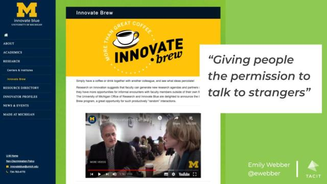 """The webpage for an initiative called Innovate brew with the quote """"Giving people permission to talk to strangers"""""""