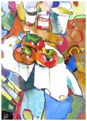 "persimmons | watercolor, pastel on paper | 30"" x 22"" 