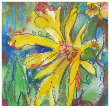 "watercolor, pencil, pastel on aquaboard   8"" x 8""   SOLD"